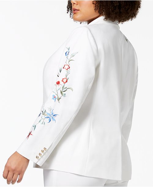 West Embroidered Size Nine Double White One Plus Weave Jacket Button adTdq