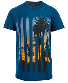 Univibe Men's Flag Palm Tree Graphic-Print T-Shirt