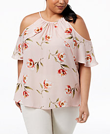 Soprano Trendy Plus Size Printed Cold-Shoulder Ruffle Top