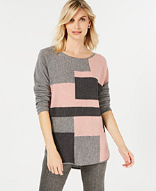 Charter Club Pure Cashmere Colorblock Sweater with Shirttail Hem in Regular & Petite Sizes, Created for Macy's