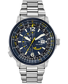 Citizen Eco-Drive Men's Angel Nighthawk Stainless Steel Bracelet Watch 42mm