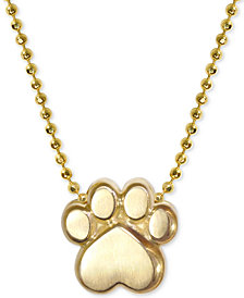 "Alex Woo Activist's Paw 16"" Pendant Necklace in 14k Gold"