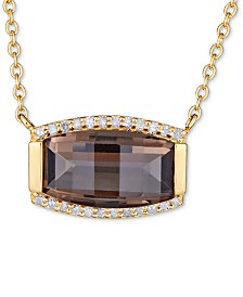 "Smoky Quartz (3 ct. t.w.) & White Topaz (1/8 ct. t.w.) 18"" Pendant Necklace in Gold over Sterling Silver Vermeil"