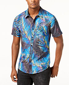 GUESS Men's Electric Palm Tree Shirt
