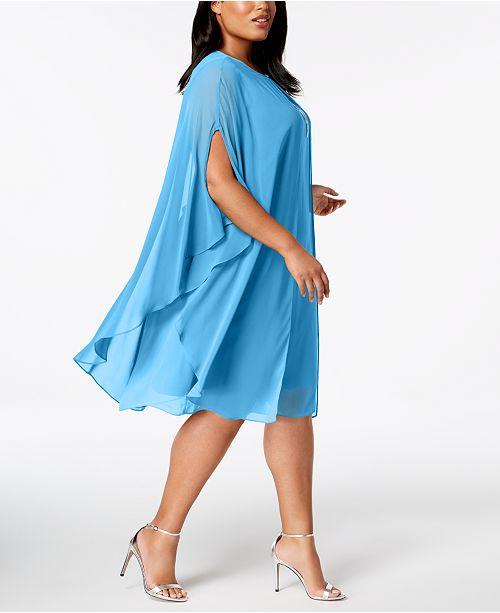 Sl Fashions Plus Size Rhinestone Chiffon Dress Capelet Dresses