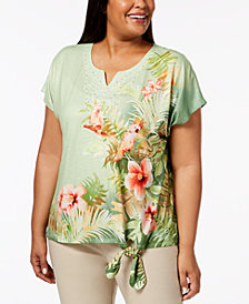 Alfred Dunner Plus Size Tropical-Print Side-Tie Top