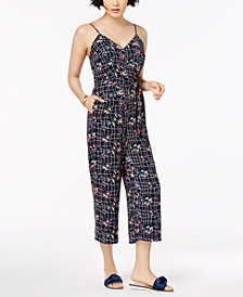 Maison Jules Floral-Print Belted Jumpsuit, Created for Macy's