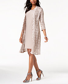 R & M Richards Petite Dress & Sequined Lace Duster Jacket