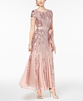 fecc92ba54e7f R   M Richards Sequin-Embellished Pleated Gown