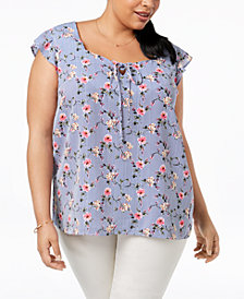 Monteau Trendy Plus Size Printed Peasant Top