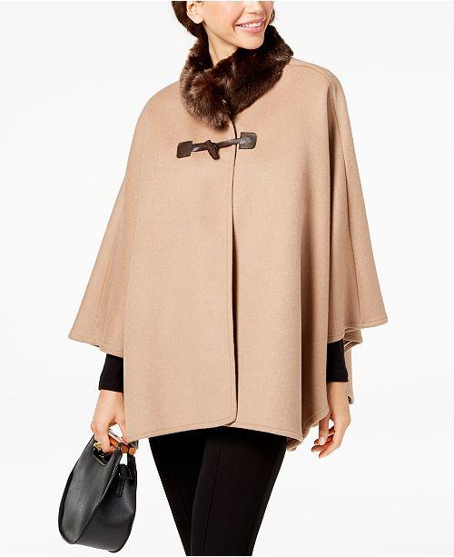 604049141a3 Jones New York Faux-Fur-Collar Cape Coat   Reviews - Coats - Women ...