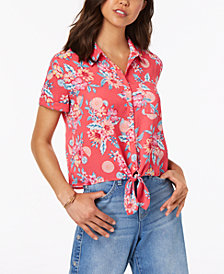 Hippie Rose Juniors' Printed Tie-Front Camp Shirt