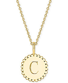 """Sarah Chloe Initial Medallion Pendant Necklace in 14k Gold-Plated Sterling Silver, 16"""" + 2"""" extender"""