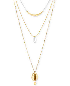 "Lucky Brand Two-Tone Triple-Layer Necklace, 17"" + 2"" extender"