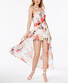 Material Girl Juniors' Printed Romper with Sheer Overlay Maxi Skirt, Created for Macy's
