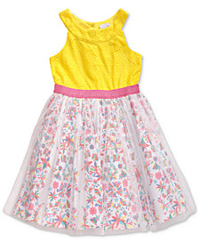 Sweet Heart Rose Little Girls Floral-Print Glitter Mesh Dress