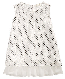 Monteau Big Girls Popover Dot-Print Mesh Top