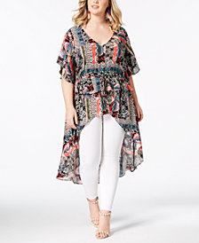 NY Collection Plus Size Printed Peplum High-Low Top
