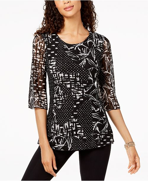2346c777d6a36 JM Collection Printed Lace Tunic Top