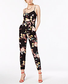Material Girl Juniors' Printed Cutout Jumpsuit, Created for Macy's