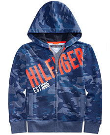 Tommy Hilfiger Big Boys Camo Logo-Print Zip-Up Hoodie