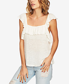 1.STATE Linen Square-Neck Ruffled Top