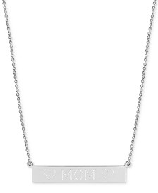 """Sarah Chloe Engraved Mom Bar Necklace in 14k Gold-over Silver, 16"""" + 2"""" extender (also available in Sterling Silver)"""