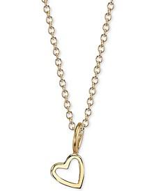 "Heart Charm Pendant Necklace, 16"" + 2"" extender"