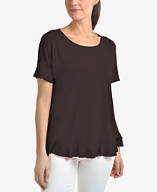 NY Collection Ruffled Scoop-Neck Top