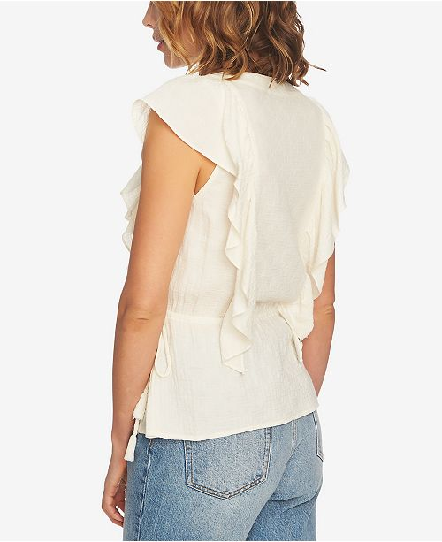 Ruffled Gauzy Top 1 Antique White Neck V STATE 7xqntw1SUz