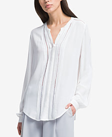 DKNY Long-Sleeve Crochet-Trim Shirt