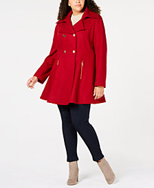 Laundry by Shelli Segal Plus Size Skirted Peacoat