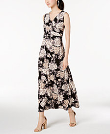 NY Collection Petite Printed Surplice Maxi Dress