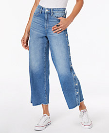 Black Daisy Juniors' Button Wide-Leg Jeans