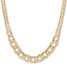 "Two-Tone Graduated Open-Link Chain 17"" Collar Necklace in 14k Gold"