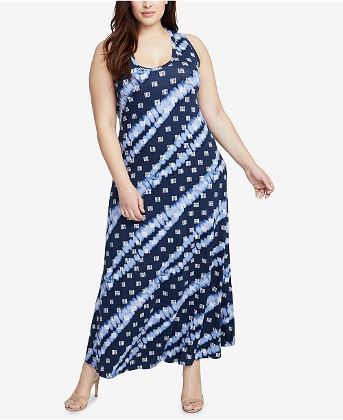 Navy Printed Rachel Combo Roy Dye Tie Dress Plus RACHEL Size Maxi 0q4wTT