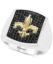 EFFY® Men's Black Sapphire Fleur-de-Lis Ring (9/10 ct. t.w.) in Sterling Silver & 18k Gold