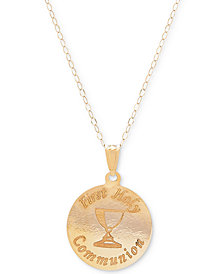 """First Holy Communion 15"""" Pendant Necklace in 14k Gold"""