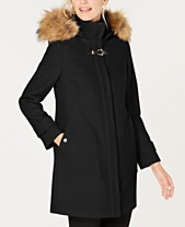 79d266f506 Cole Haan Faux-Fur-Trim Hooded Coat