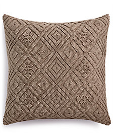 "Lacourte Cleon Handwoven Geometric 22"" Square Decorative Pillow, Created for Macy's"