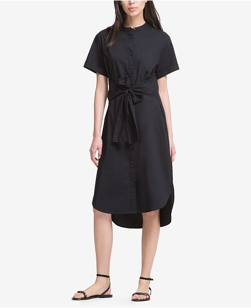 DKNY High-Low Tie-Front Shirtdress, Created for Macy's