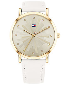 Tommy Hilfiger Women's White Leather Strap Watch 36mm Created for Macy's