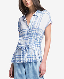 DKNY Printed Tie-Belt Shirt