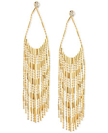 GUESS Gold-Tone Crystal & Chain Fringe Chandelier Earrings