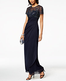 Xscape Short-Sleeve Beaded & Draped Gown