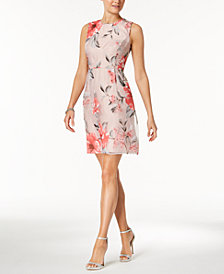 Ivanka Trump Floral Mesh A-Line Dress
