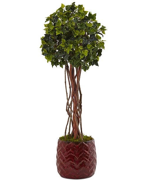 Nearly Natural 2.5' English Ivy UV-Resistant Indoor/Outdoor Artificial Tree in Red Planter
