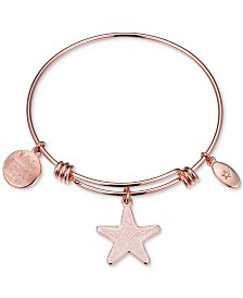 "Unwritten ""Wish Upon a Starfish"" Enamel Bangle Bracelet in Rose Gold-Tone Stainless Steel"