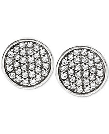 Sutton by Rhona Sutton Men's Black-Tone Sterling Silver & Jet Cubic Zirconia Stud Earrings