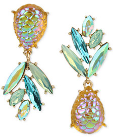 Betsey Johnson Gold-Tone & Stone Pineapple Mismatch Drop Earrings